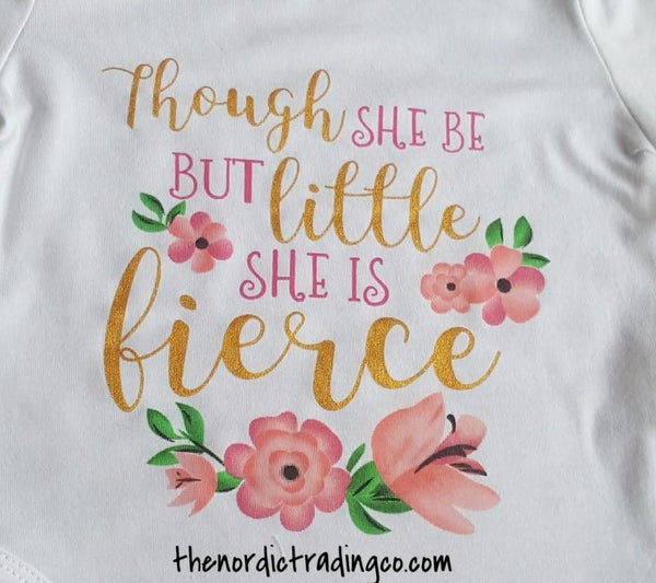 Though She But Little She Is Fierce Onesie Set Bodysuit Romper Headband Silicone Teether Pacifier Holder Infant Baby Newborn Girl Girl's Baby Shower Gifts Sets