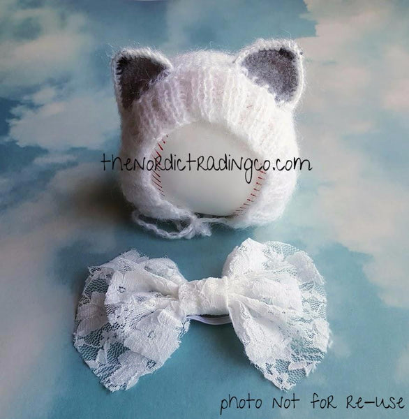 Handmade White Kitten Girls' Kitty Cat Hat Girl's Photo Prop Handmade Baby Shower Gift Keepsake
