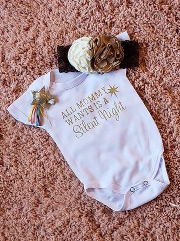 All Mommy Wants is a Silent Night Onesie Romper Nordic Gift Set NB 0/3 Girl mo Free Vintage Flower Headband Girls Baby Shower Gifts XMas Christmas