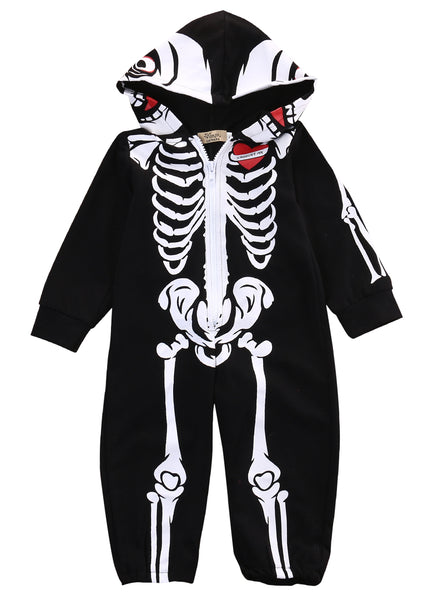 Halloween Skeleton & Roses Black Bodysuit Zip Back Full Length Women's Sexy Bones Jumpsuit Costume Clothing One Piece Costumes Mujer Mommy Me Baby