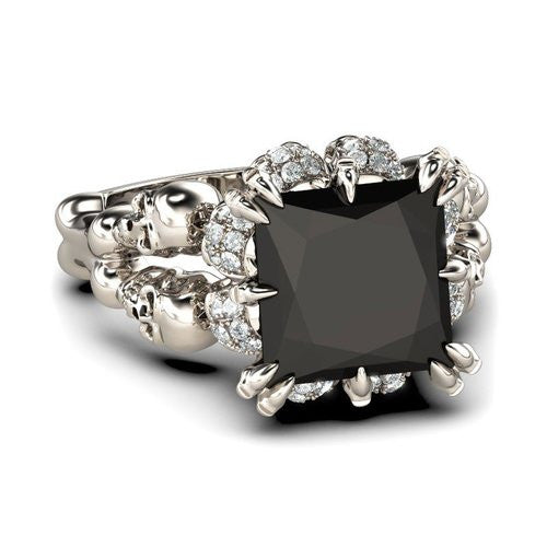Gothic Romance Silver Plated Women's Engagement Wedding Cocktail Ring 4ct Black CZ Dark Elegance Goth Hip Alternative Rings Jewelry Gifts Her sz 8 or 9