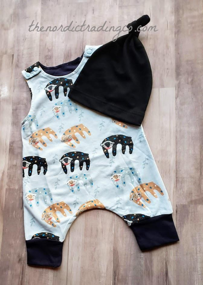 Boy's Sleepy Sloth Outfit CUTE! Romper Overall Boy Baby Shower Gift Idea Infant 6 MO Boys Outfit Jumper & Hat Clothing Gifts Sets Babies Boys
