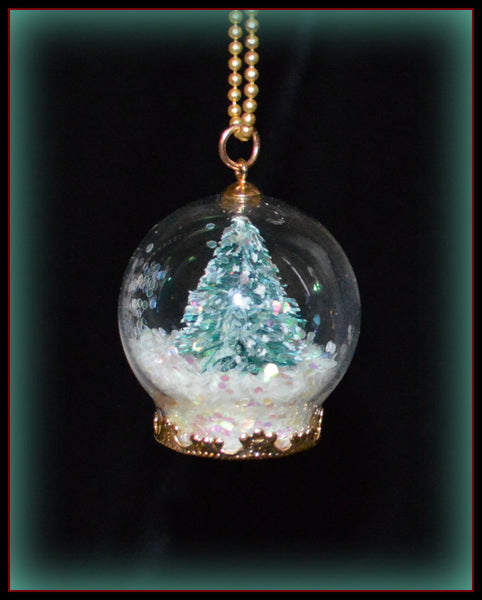 "Teenie Tiny Christmas Tree Snow Globe Necklace Handmade 1"" Tall Womens  Jewelry Gifts Accessories"