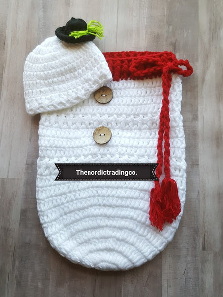 Snowman New Baby Handmade Crochet Christmas Set Snowman's Hat plus Bunting Cocoon Swaddle Sack Baby Shower Gift Ideas December Baby Boy or Girl Infant Newborn Photo Prop Accessories USA