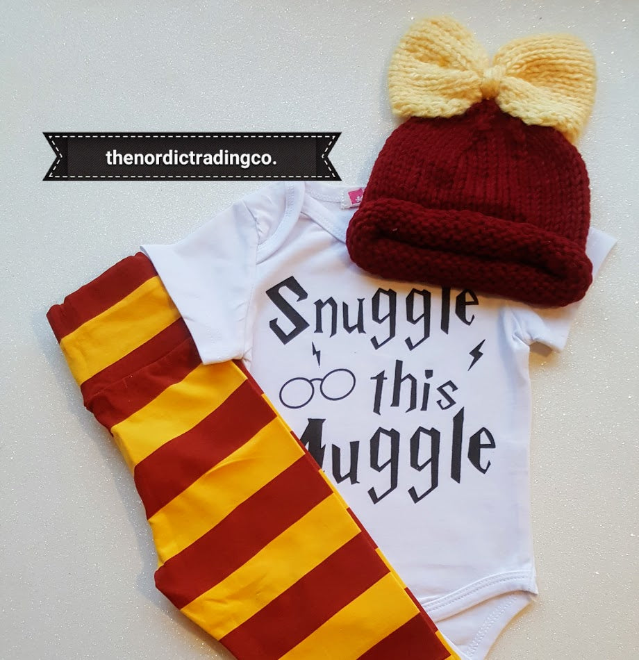 01fbb5ee0eb Snuggle This Muggle Now Girl s Set 3 pc Hat Bow Long Pant Onesie Top Maroon  Yellow