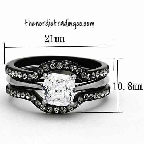 His & Hers Engagement & Wedding Ring Set Black / Silver Ion Plated 3 rings Women's Set 1.3ct Square Princess Cut AAA CZ Men's Titanium Band with CZ insets Men's Women's Rings Jewelry Couple's
