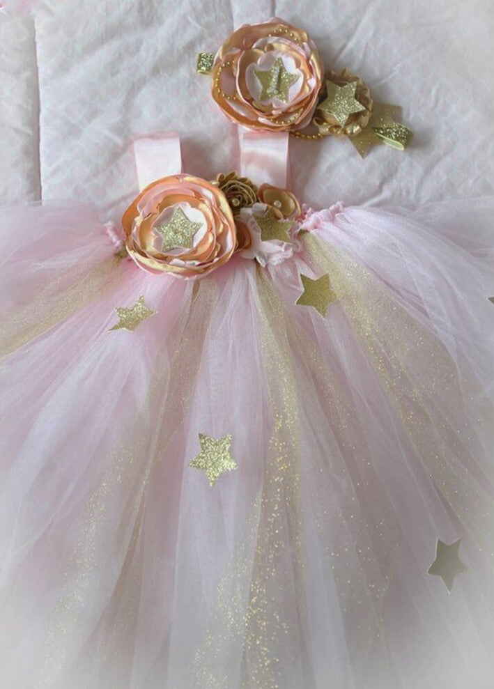 She's A Star First Birthday Tutu Dress Blush Gold Ivory Girls Party Dresses Headband Cake Smash Day Baby Photos Photography Props Ships Now USA