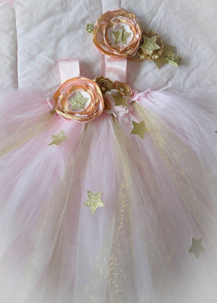 Twinkle Twinkle Pink Gold Tutu Girls Birthday Gown Dress Party Dresses 1st Birthday and Up Girl's Star Outfit Baby Girl Toddler Girls Tulle Kids Children's Clothing Holiday