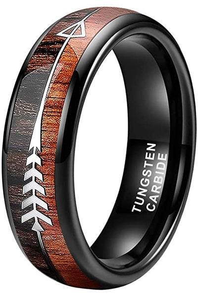 Dual Wood Steel Arrow Inlay 6mm 8mm Black Tungsten Bands Couples Wedding Ring Sets Hunter Outdoors Nature Native American Conservationists Rings