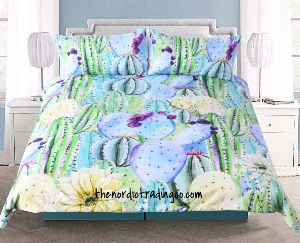 Custom Bedding Gives Your Dorm Room Luxury Appeal Watercolors Cactus Succulents 3 Piece Duvet Set Twin Full Queen King Teen Girl College Bedding Decor Accessories