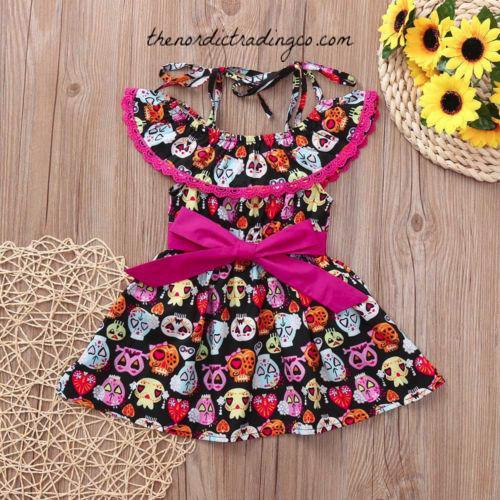 Girl's Sugar Skull Halloween Dress & Headband Black Colorful Skulls Pink Lace Toddlers Dresses Girls Fall Party Clothes Girls' Seasonal Clothes Baby Girl 18 mo 3T