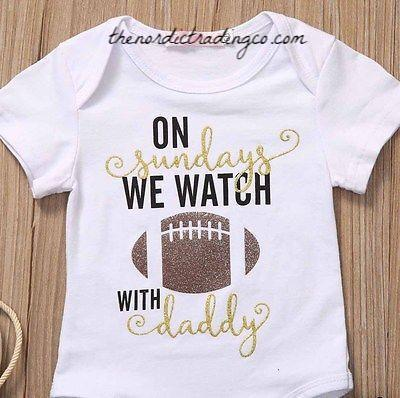 On Sundays We Watch Football With Daddy Father's Day Baby Shower Gift Set Ideas Onesie Ruffled Skirt Newborn 0/3 mo Infant Girl's