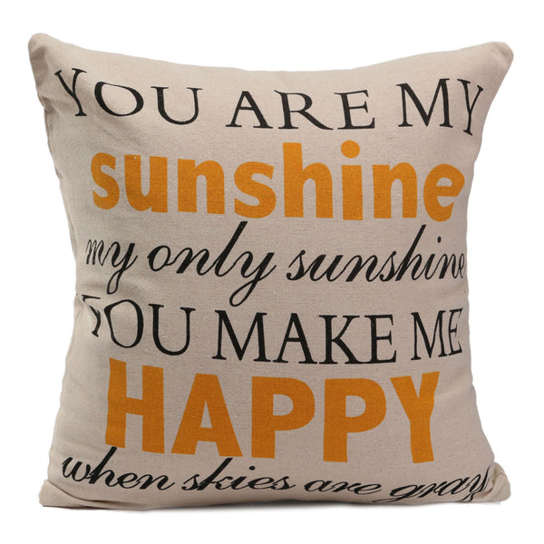"YOU ARE MY SUNSHINE YOU MAKE HAPPY WHEN SKIES ARE GRAY Decorative Throw Pillow Cushion Cover Sure to Brighten Any Day 17x17"" House & Home"