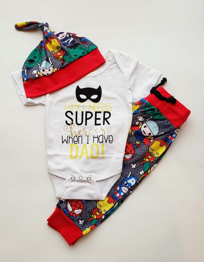 Superheros Baby Boy Outfit Newborn Boy's Avengers Inspired Set Hat Onesie Pants Baby Shower Gift Ideas Kids Clothes Outfits Sets
