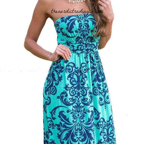 Women's Teal Navy Damask Summer Maxi Dress Strapless Dresses Boho Beach Party Dresses Bright Color Long Robe Femme