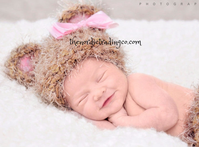 Sweet Newborn Girl Crochet Fuzzy Bear Neutral Pink Bow Accents One Size 0/6mo Infant Kids Baby Shower Gifts