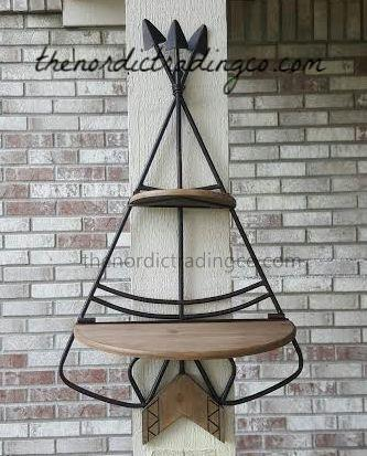 Unique Teepee Design Iron & Weathered Wood Tribal Wall Shelf 2 Shelves Crossed Arrows Perfect Addition to your Outdoors Adventurer Baby Boy Room Nursery