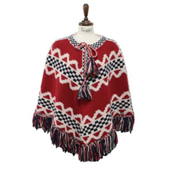 Women's Nordic Pullover Tasseled Fringe Cape Red Mongolian Inspired Design Outerwear Poncho Sweater Clothing sz L 8 10 USA