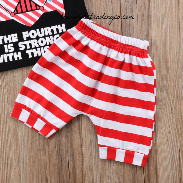 Star Wars The 4th Is Strong With This One Red White Blue 4th Of July Newborn Boy's Set Tank Top Shorts Boys Baby Shower Gift Sets Patriotic Infant Boys Outfits 0/6 mo