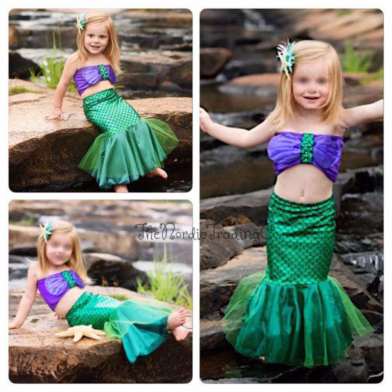 Little Mermaid Aerial Little Girl's Dress up Creative Play Halloween Costume Hand Made to Order Green Scales Mermaids Fin Pearls 2t 3t 4t 5t Top has Faux Pearls