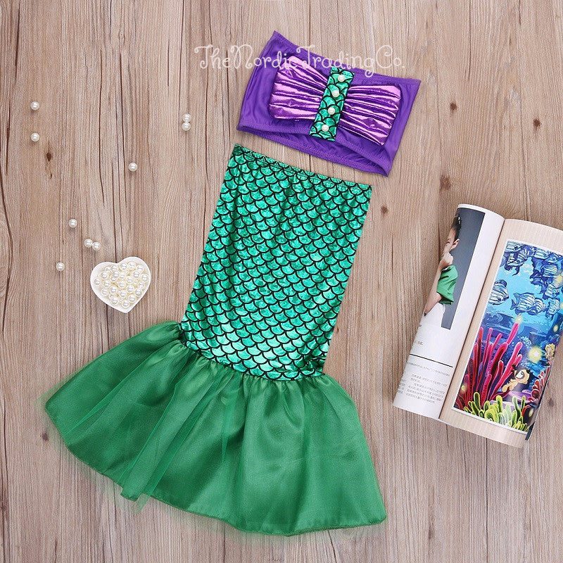 Mermaid Aerial Little Girl's Dress up / Creative Play / Halloween Costumes 2t 3t 4t Shells Tops Shimmering Scales Tail Tails Girls Costume USA Birthday Party