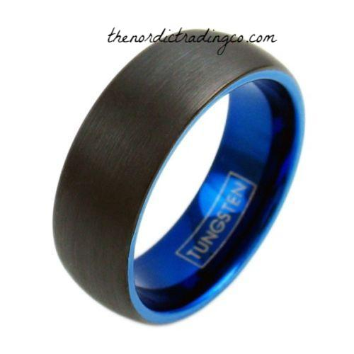 Men's Thin Blue Line Collection Police 1ST Responder Tungsten Carbide Blue Inside Engravable Wedding Band Achievement Ring 8mm Sz 7-13 USA Jewelry Gifts for Him