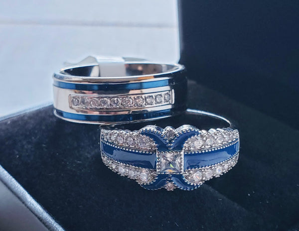 thin blue line couples wedding ring set police officer law enforcement 2 bands