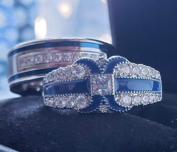 Thin Blue Line Couples Wedding Rings 2 Rings Sets Bride Groom Law Enforcement Police Officers