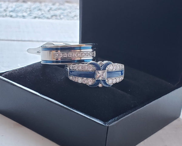 Thin Blue Line Couples Wedding Ring Set Bride Groom Engagement Jewelry Gifts