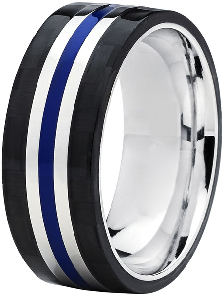 Thin Blue Line Titanium Wedding Ring / Silver Band Black Carbon Outer Bands Blue Epoxy Center Groove 9mm Bands Ideal Law Enforcement Police Officers Cops First Responder Rings Jewelry Mens Gift Ideas Groom Husband
