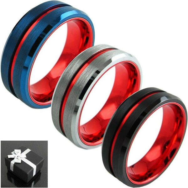 Thin Red Line Firefighters Rings Tungsten Carbide Blue Silver Black Bands Wedding Engagement Gift Honor Medic Fire Men Fighters First Responders Rings