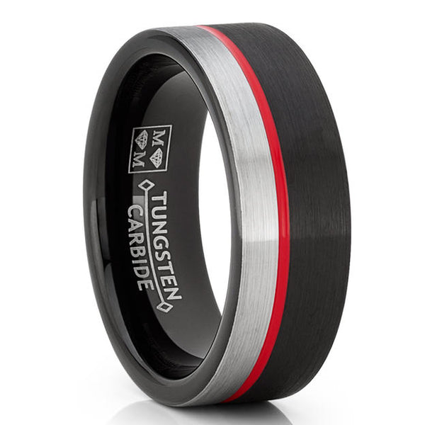 Firefighter Thin Red Line Men's Wedding Ring / Band Tungsten Carbide Brushed Silver & Black / Engraved Red Line Mens Rings American Hero Tribute Gifts Men Guy Jewelry