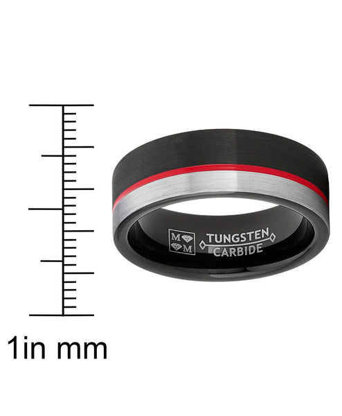 Thin Red Line Firefighters Wedding Rings Mens Tungsten Carbide Engraved Option Band Silver Red Black Emergency Medical EMT Volunteer
