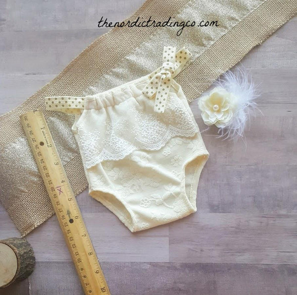Tiny Newborn Girl's 1st Photo Set Romper Ivory Lace Bodysuit Flower Feather Headband Boutique Handmade Preemie Photo Prop Infant Sets