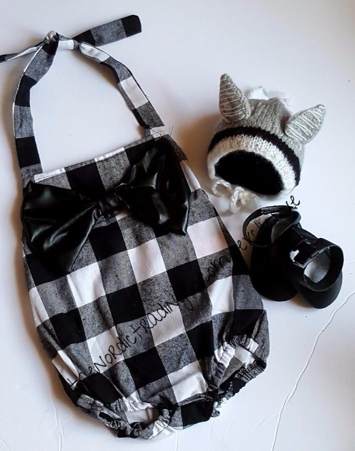 Buffalo Plaid Black White Checks plus Big PU Leather Bow Accent Nordic Romper / Scandinavian Handmade Mary Jane Mocs Tiny Wolf Hat Urban Baby Girl Set sz 6, 12 mo 18
