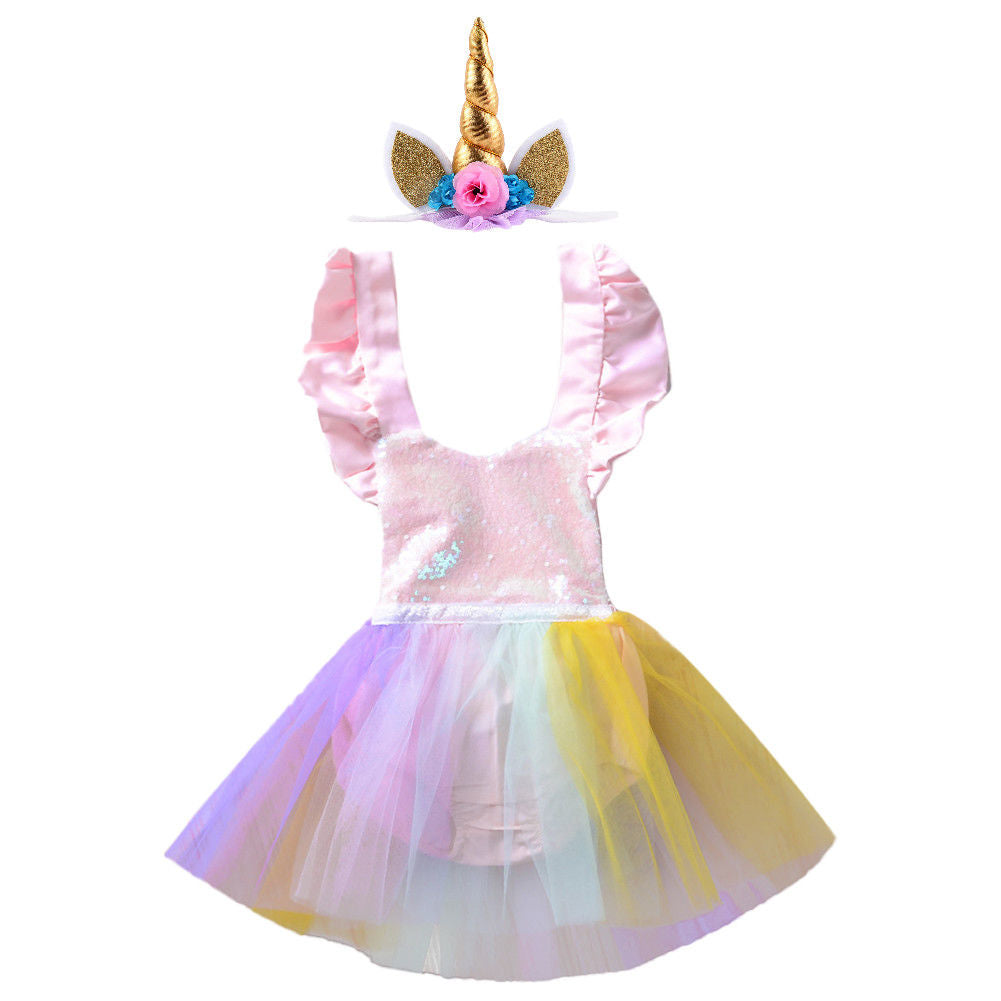 Baby Girl's Iridescent Sparkles Tutu Dress Romper 12-18 mo Great 1st Birthday Outfit Free Unicorn Rainbow Headband Toddler Sets Pink Satin Gifts for Girl