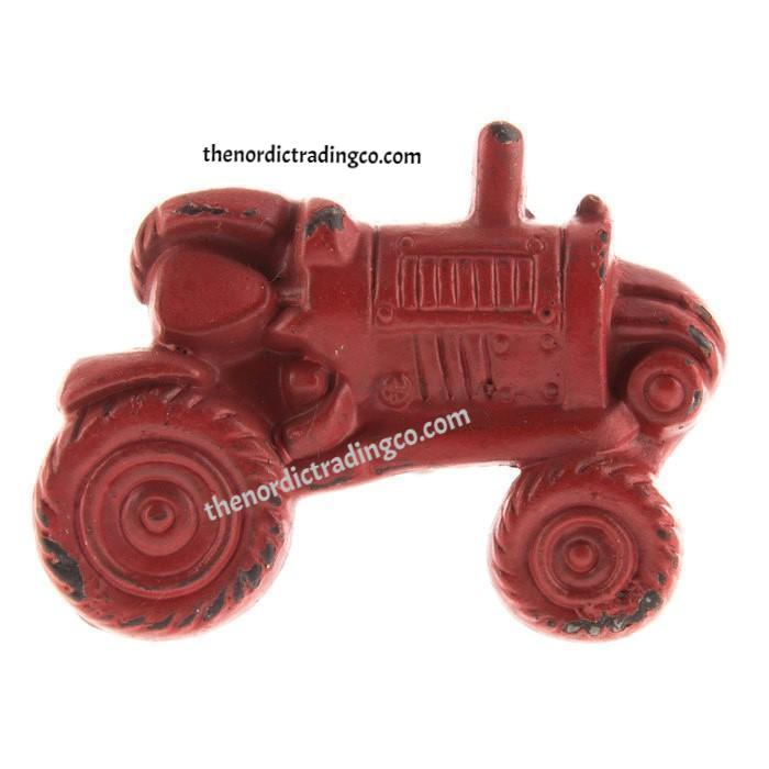 Rustic Red Tractor Pulls Knobs Clothes Hanger Curtain Tie Back Holder DIY Embellishment Boy's Rooms Nursery Farmhouse Interior Designs Decor