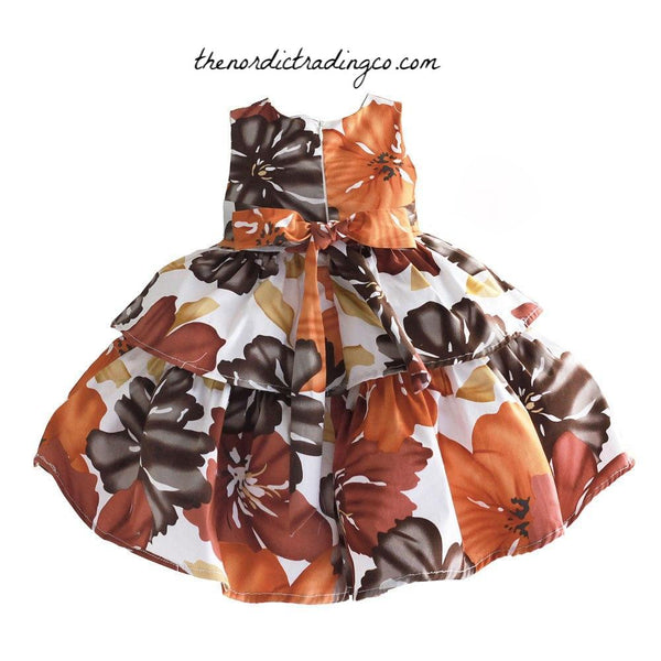 Tropical Palms Baby Toddler Girls Dress 12 mo 2T Flower Girl Dresses Party Easter Brown Coconut Rust Colors Kids Special Ocassion  Clothing