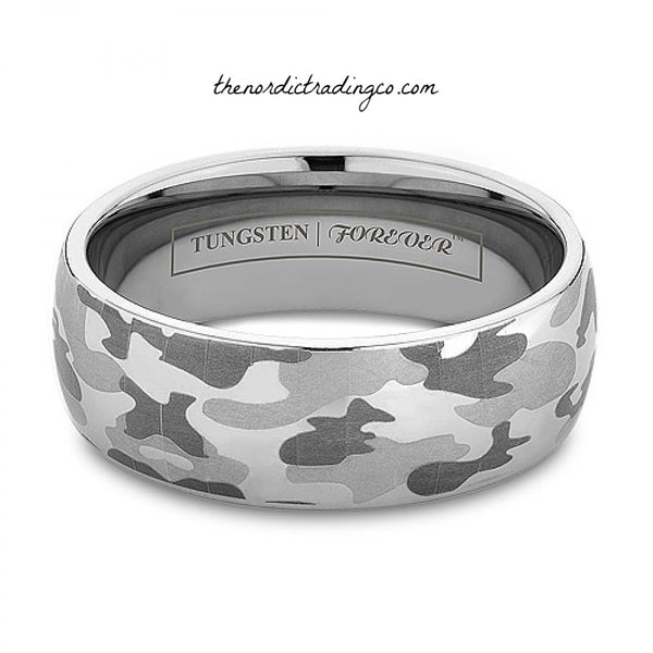 Men's Camouflage Wedding Rings 8mm Silver Tungsten Carbide Band Mens' Ring Jewelry Gifts for Him Men Engagement Bands