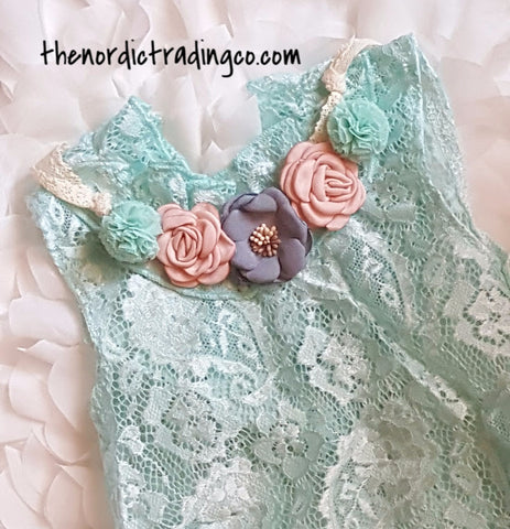 Aqua Lace Bodysuit & Floral Collar Infant Girl's Photo Prop Set Vintage Style Baby Shower Gift 1st Birthday Pictures 6 12 mo.