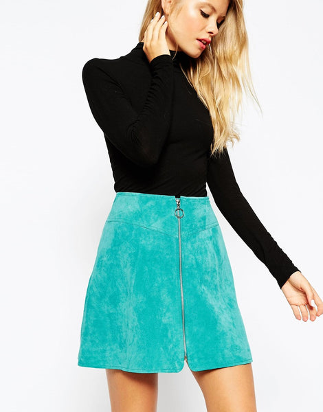 Turquoise Blue Faux Suede Leather A Line Front Zipper Mini Skirt USA Med Large Women's Clothing Apparel Skirts Juniors