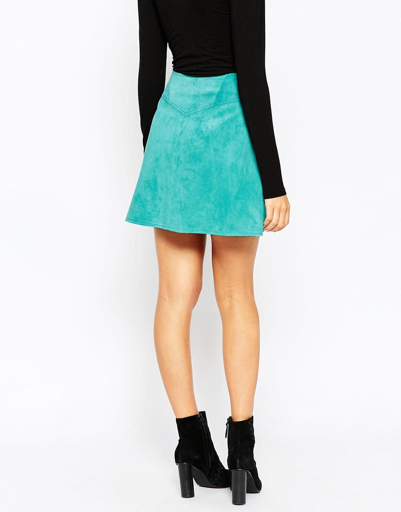 26ee7768c1b2 ... Turquoise Blue Faux Suede Leather A Line Front Zipper Mini Skirt USA  Med Large Women's Clothing ...