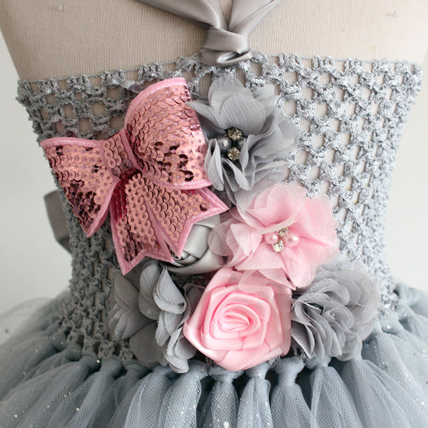 Girl's Sparkle Gray Layered Tulle Flower Girl Princess Dress Pink Rolled Shabby Roses Vintage Jewels Adorn Bust sz 2T - 7 TuTu Custom Birthday Tutu Flower Girl Photo Special Occasion Dresses