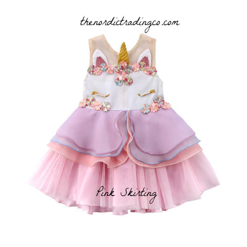Unicorn Party Girl Dress Little Girl's Fancy Layered Tulle Birthday Dresses Girls 3T 4T Pink Purple / Peach Gold Embroidery Dress Up