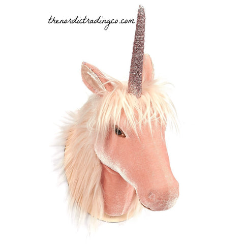 Fairy Tale Unicorn Faux Taxidermy Rose Gold Wall Art Head Mount Upscale Girl's Rooms Nursery Whimsical Decor Animal Heads