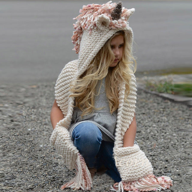 Unicorn Hood & Scarf for Girl's Women Handmade Crochet Hood Hat Long Scarf Pink Beige and Cream fits Girl Age 6 to Adult Gift Ideas Birthday Christmas Outerwear Kids Children's Clothes Hats Cowl
