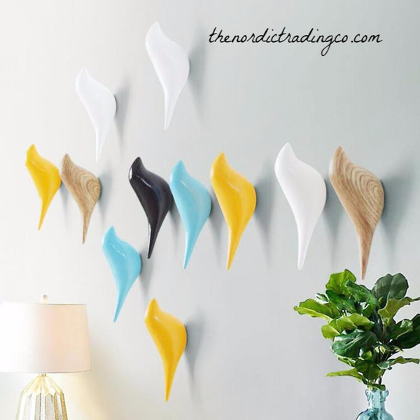 Wood Grain / Color Nordic Birds Home Nursery Decor Wall Hooks Creative Flock Interior or Outdoor Design
