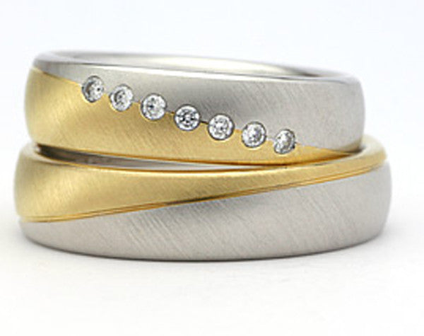 Newly listed! Couples Engagement / Wedding Ring Set 2 tone Gold Silver CZ Inlay Women's Men's Bands Bride Groom Jewelry