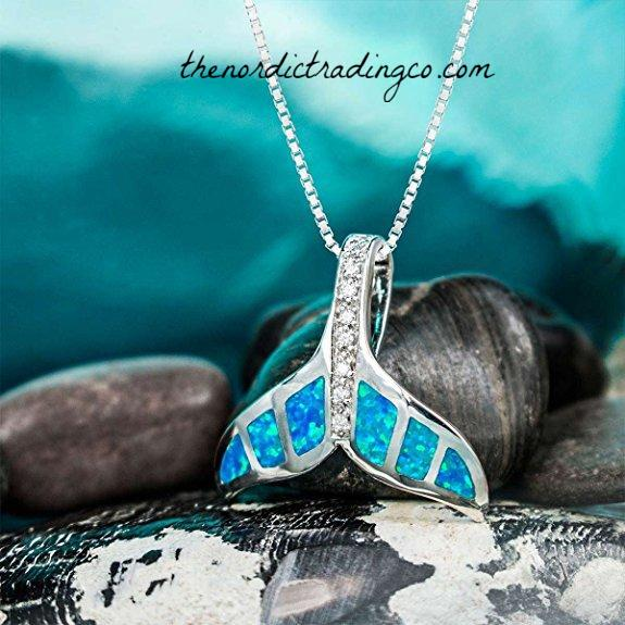 "Whale Tail Pendant Silver .925 Plated Channel Set CZ Create Sparkle Simulated Blue Fire Opal 17"" Sterling Necklace Women's Jewelry Gifts Ships From USA"
