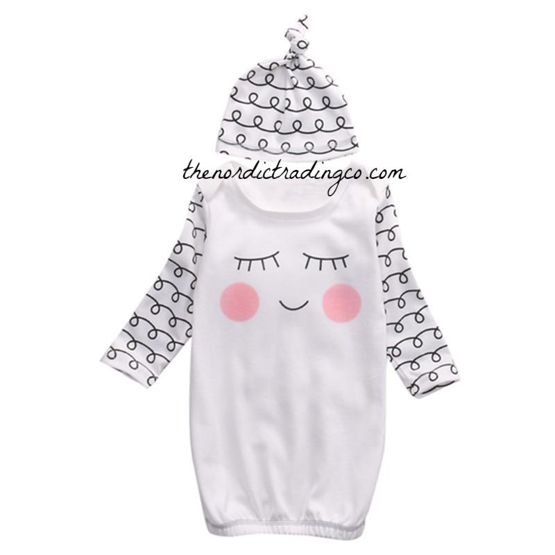 What A Doll Newborn Girl\'s Sleeper Sack Gown & Cap Hat Sweet ...